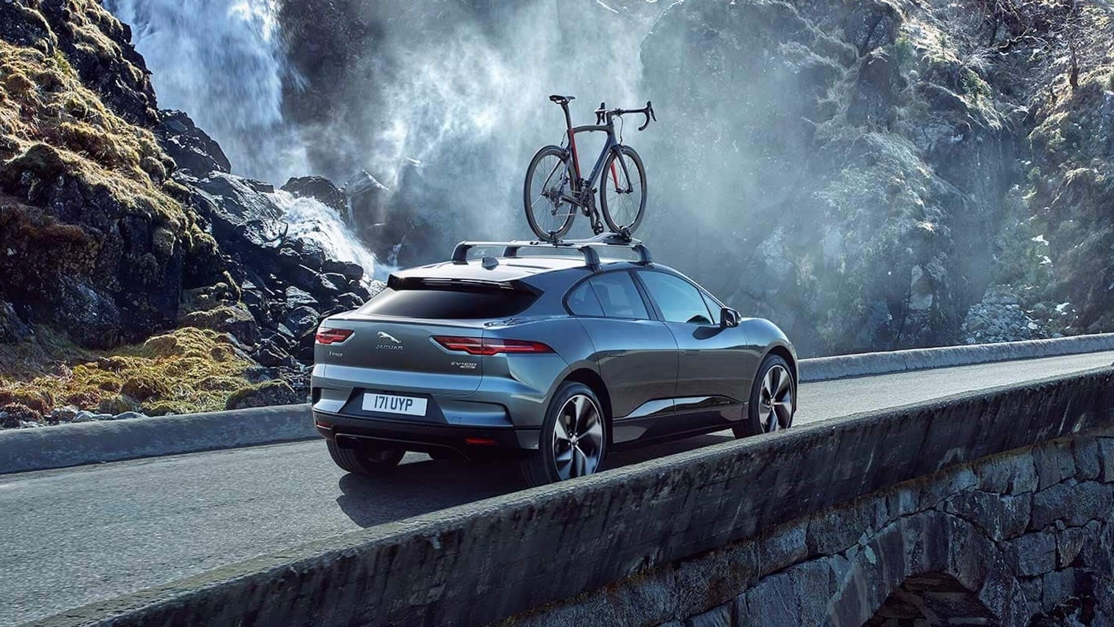 Jaguar I-Pace with bikes on roof